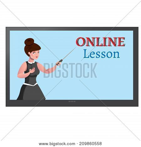 Online education design concept with lecturer. Vector