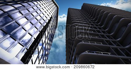 3d illustration of office buildings against clouds against blue sky
