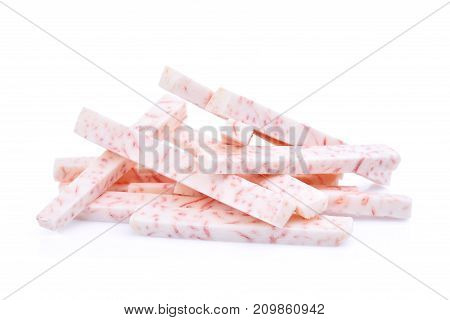 pile of taro root stick isolated on white background