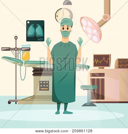 Defeat cancer orthogonal composition with oncologist surgeon in operating room equiped with table lights and infuser vector illustration