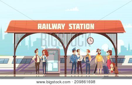 Railway station flat vector illustration with passengers and  travelers waiting train on railway platform