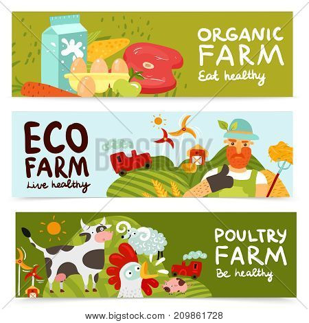 Set of horizontal banners with organic products, eco farm and fresh poultry isolated vector illustration