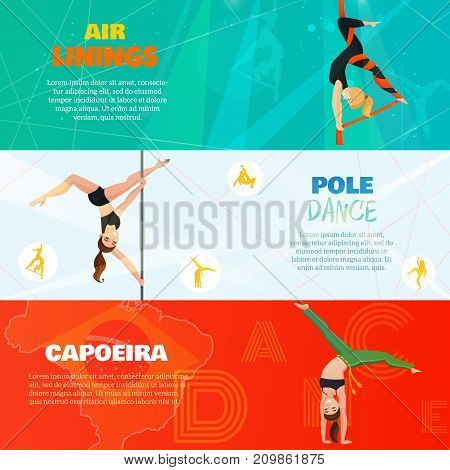 Set of horizontal banners with aerial silks, pole dance and capoeira on bright backgrounds isolated vector illustration