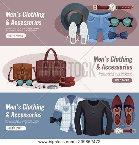 Three colored men accessories horizontal banner set with men s clothing and accessories headline vector illustration