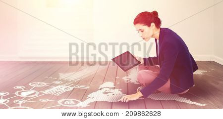 Young businesswoman holding digital tablet on white background against empty room