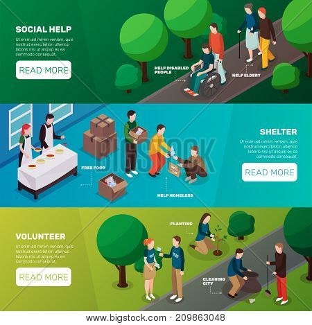 Charity volunteer people isometric banners set with images representing volunteering activities editable text and read more button vector illustration