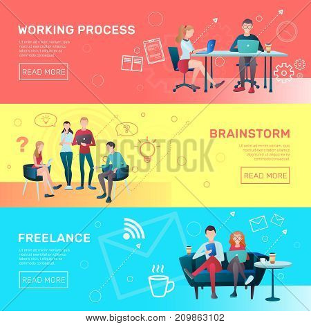 Creative team coworking people gradient flat horizontal banners collection with editable text and read more button vector illustration
