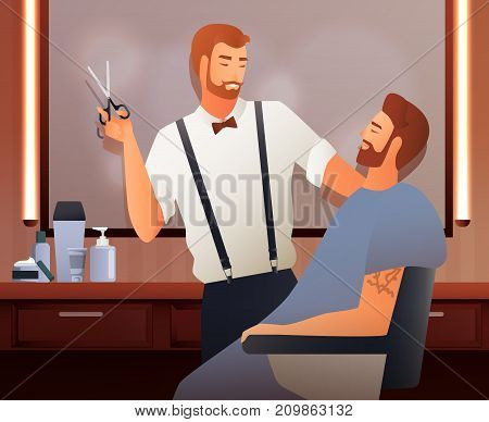 Hairdresser stylist barber gradient flat people composition with two human characters in barbershop interior with shadows vector illustration