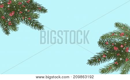 Xmas tree branches red berries and snowflakes sparkles.Merry Christmas and Happy New Year greeting. Isolated without a shadow.