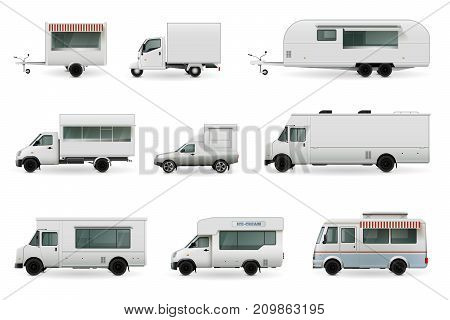 Food trucks realistic collection of isolated automobile images with trailer trucks and different car body design vector illustration