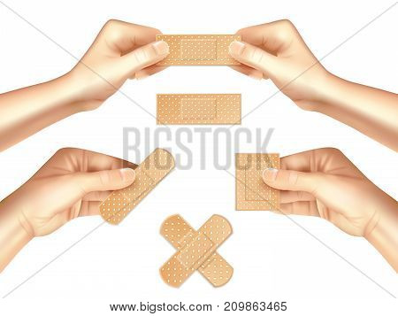 Hands holding beige medical plasters of various shape realistic set on light background isolated vector illustration