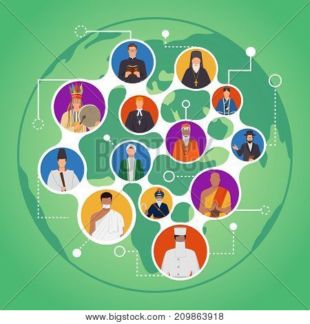 Communication of people from world religions composition with portraits of spiritual leaders on green background vector illustration