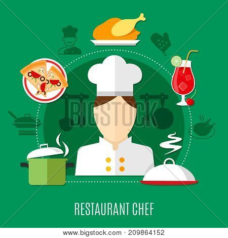 Flat design restaurant chef concept with culinary icons on green background vector illustration