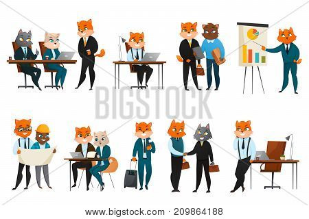Boss executive business cat anthropomorphic businessman comic character in corporate office cartoon icons webcomic composition vector illustration