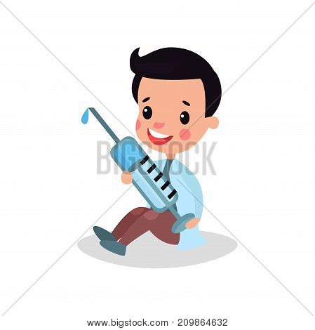 Cute boy doctor in professional clothing sitting on the floor and holding giant syringe, kid playing doctor vector illustration isolated on a white background