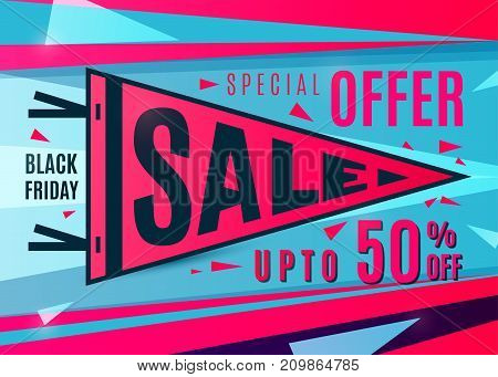 Sale banner design. Black friday poster in bright color flat style. Sport pennant typography concept. Discount text sign, upto 50 percent off. Vector illustration