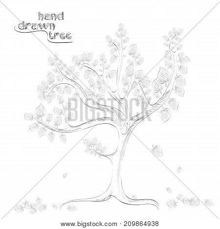 Hand drawn tree with falling leaves - original hand drawn illustration