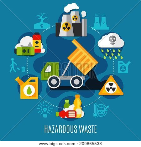 Waste and pollution concept with acid rain symbols flat vector illustration