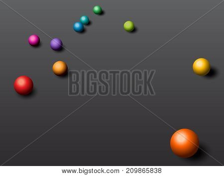 Abstraction background with colorful balls in a rainbow of color