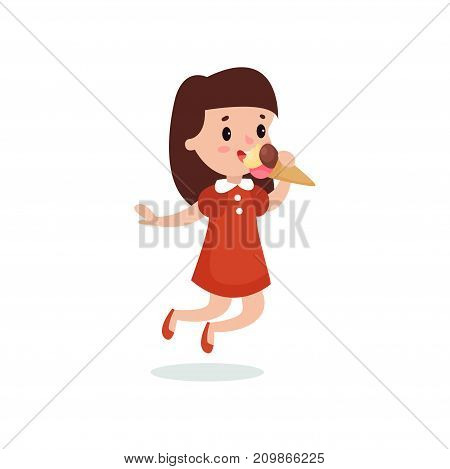 Happy brunette girl licking ice cream cartoon vector illustration isolated on a white background