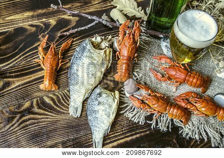 Dried salted fish with boiled red crayfish glass with beer and a bottle of beer on canvas lying on dark wooden boards