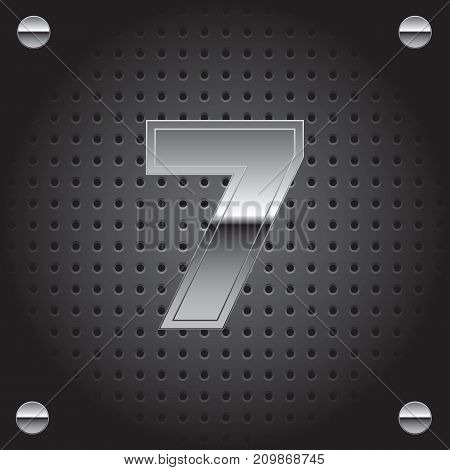 Vector set of silver metalic font on metalic perforated background - number seven - 7