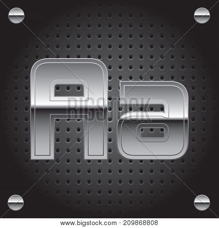 Vector set of silver metalic font on metalic perforated background - letter A