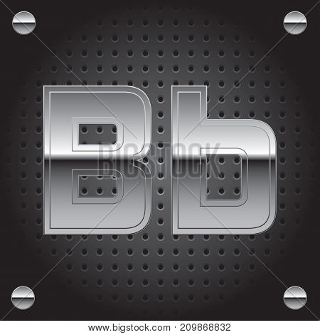 Vector set of silver metalic font on metalic perforated background - letter B