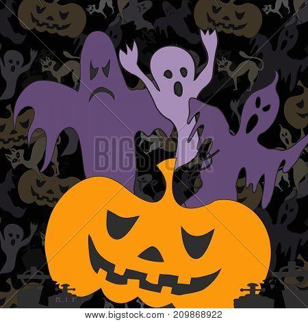 Hallowen background with violet ghost and orange pumpkin