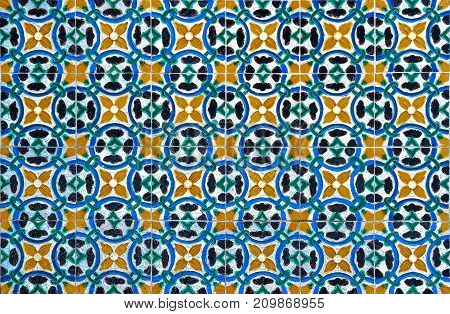 Highly detailed vintage azulejos traditional Portuguese tiles