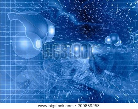 Digits molecules and map - abstract technology background in blues.