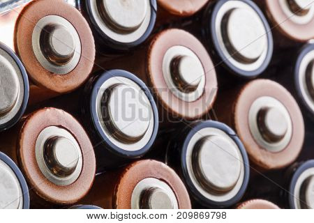 Abstract close up of AA alkaline batteries