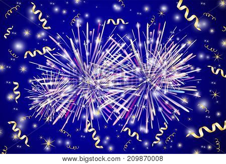 Vector background from the fireworks and gold ribbons.