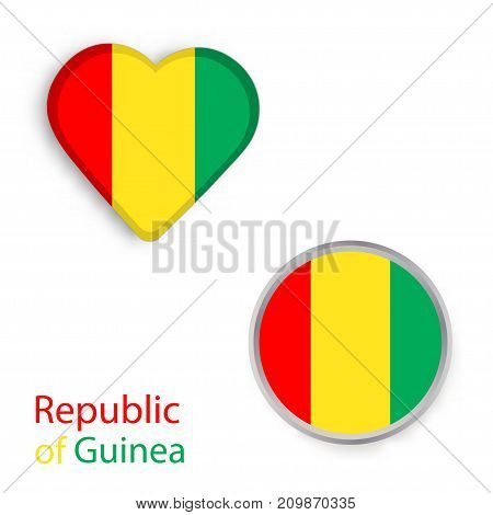Circle and heart symbols with the flag of Republic of Guinea. Vector illustration