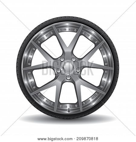 Radial wheel car alloy with tire isolated background vector illustration.