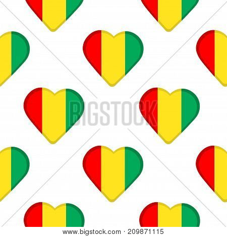 Seamless pattern from hearts with the flag of Republic of Guinea. Vector illustration