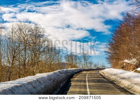 Asphalt Mountain Road In Winter