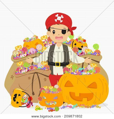 happy boy in pirate costume surrounded with sacks of candies and Halloween pumpkin full of candies. Halloween cartoon vector