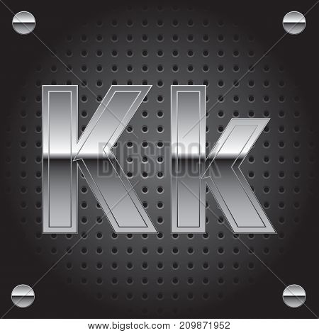Vector set of silver metalic font on metalic perforated background - letter K