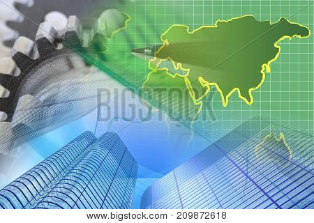 Business background with buildings map and pen.