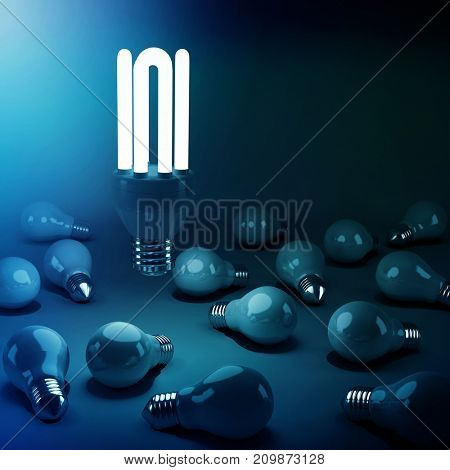 Computer generated image of lit energy efficient lightbulb over bulbs on gray background