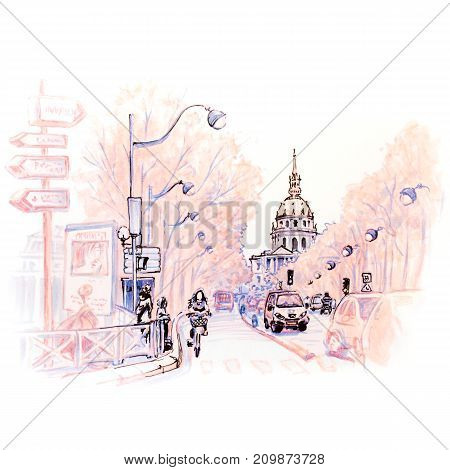 Paris street and Les Invalides in the winter morning, Paris, France. Picture made markers
