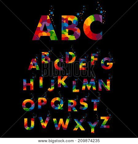 Stylized colorful font ABC and alphabet. Vector