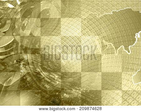 Abstract digital background in sepia - map digits and mail signs.