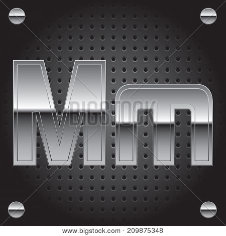 Vector set of silver metalic font on metalic perforated background - letter M