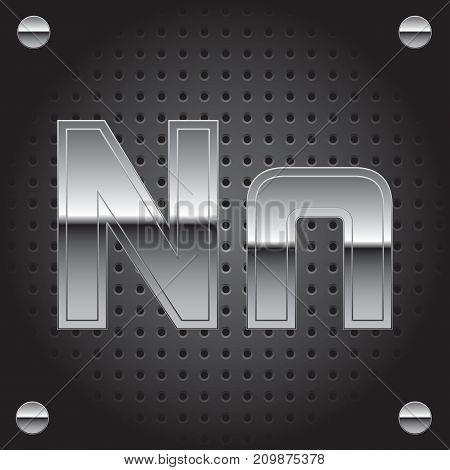 Vector set of silver metalic font on metalic perforated background - letter N