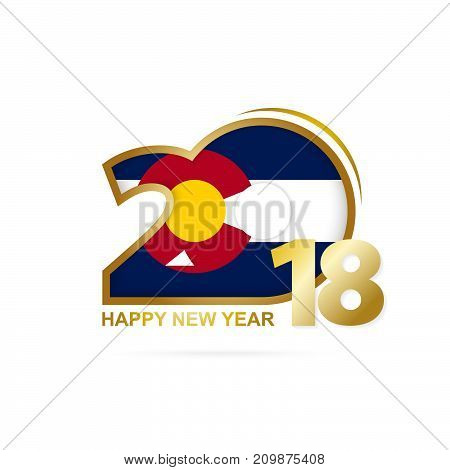 Year 2018 With Colorado Flag Pattern. Happy New Year Design.