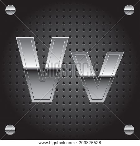 Vector set of silver metalic font on metalic perforated background - letter V