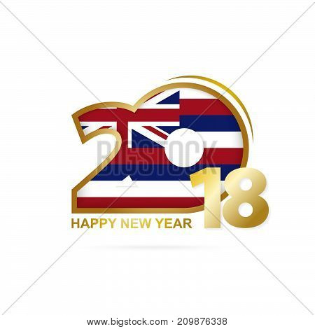 Year 2018 With Hawaii Flag Pattern. Happy New Year Design.