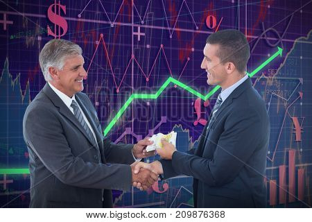 Businessmen shaking hands and exchanging money against red arrow
